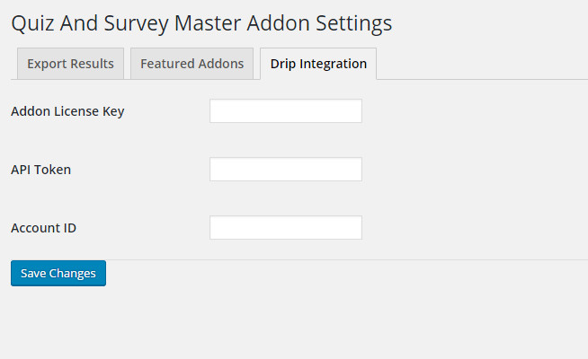 Drip Integration Addon Settings