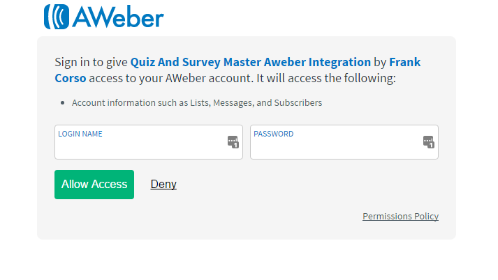Aweber addon authorization example