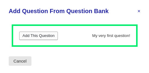 Question bank popup with one question available