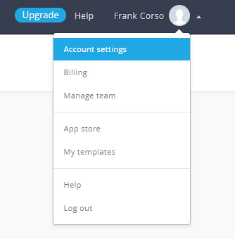 A menu with several options that appears when clicking the account name in Campaign Monitor