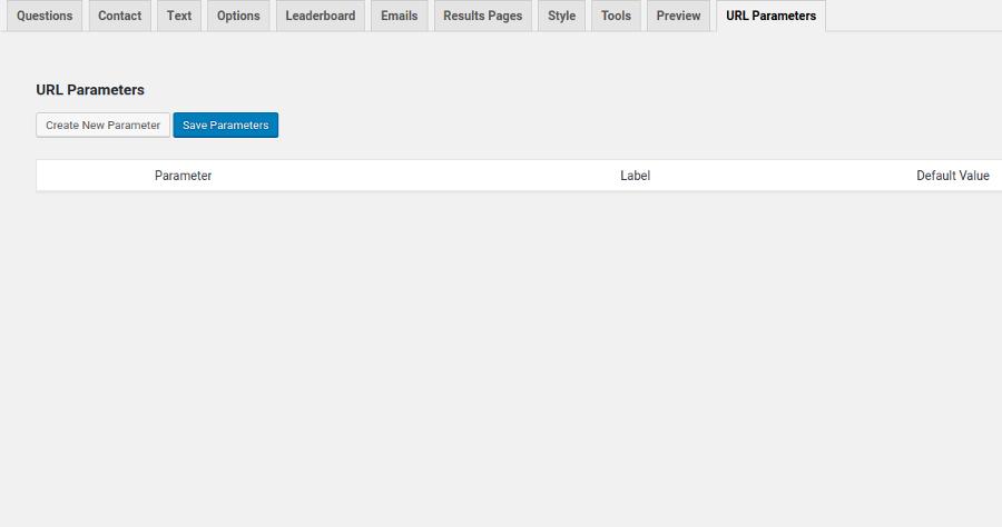 Example of quiz settings tab for URL Parameters