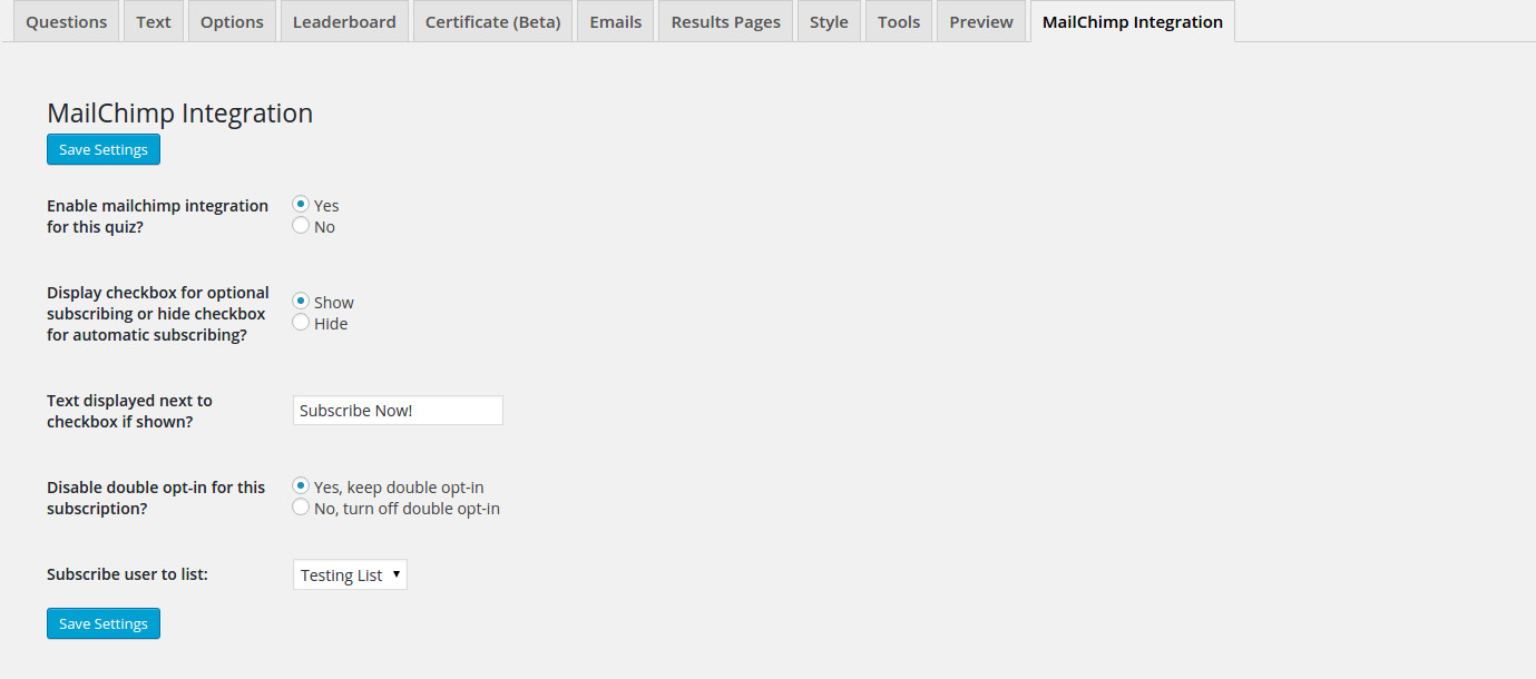 QSM MailChimp Integration Quiz Settings