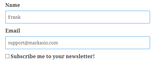 Screenshot showing fields for name and email with checkbox asking if user would like to subscribe to a newsletter.